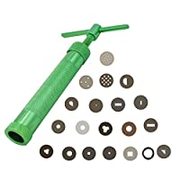 Wisehands Professional Clay Extruder with 20 Unique Disc Designs, Lightweight, Made of Zinc Alloy, Color Green