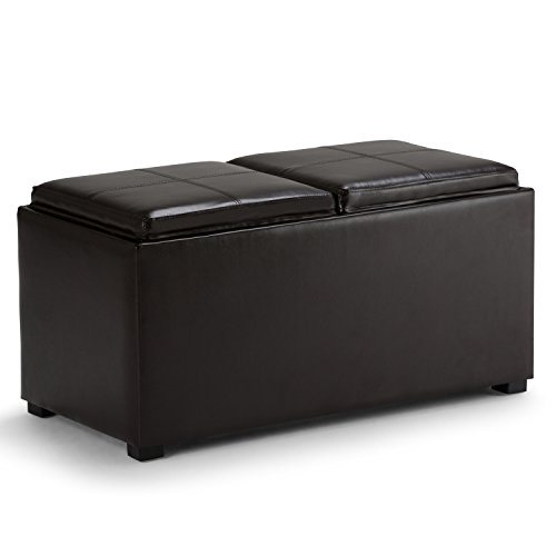Simpli Home Avalon 3-Piece Rectangular Storage Ottoman w/ 2 Serving Trays & 2 Small Ottomans, PU Leather, Brown
