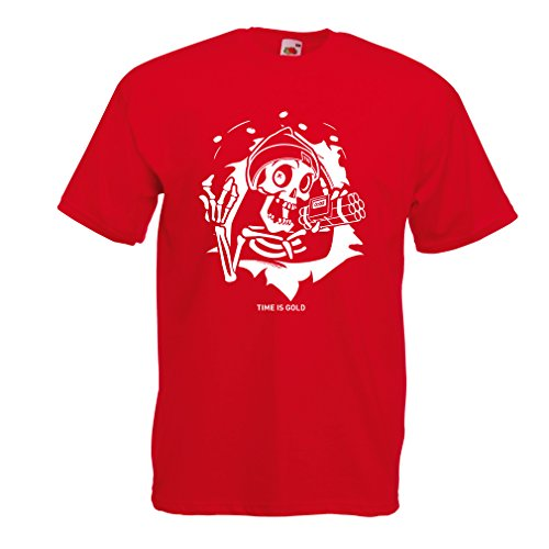 lepni.me T Shirts for Men The Skull - Ticking Bomb - Time is Gold Quotes (XX-Large Red Multi Color)