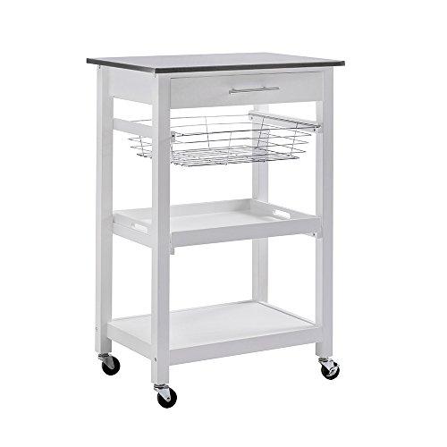 Collection Kitchen Island - SJ Collection Linden Kitchen Cart-White