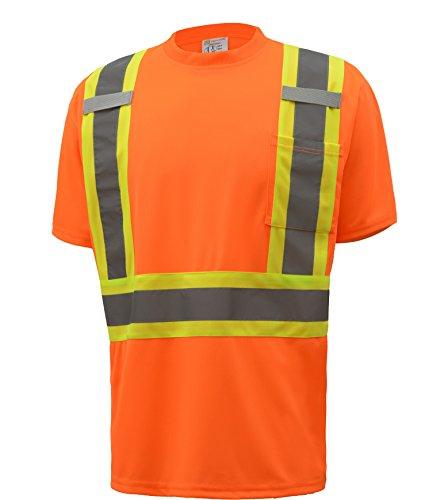 CJ Safety CJHVTS2004 ANSI Class 2 Two-tone High Vis Short Sleeve Safety Shirt Moisture Wicking Mesh (5XL, Orange)
