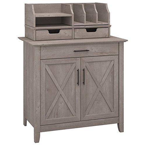 (Bush Furniture Key West Laptop Storage Desk Credenza with Desktop Organizers in Washed Gray)