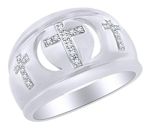 Natural Diamond Cross Ring in 14k White Gold Over Sterling Silver Ring Size - 6.5 (18kt Over Sterling Silver Cross)
