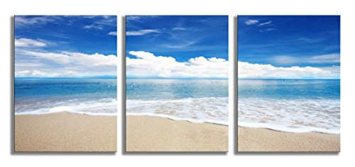 Blue Sea Wall Art Beach Painting Seascape 3 Panels Stretched and Framed for Home Decoration 12x16inch by YPY