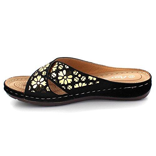 AARZ LONDON Women Ladies Open Toe Casual Comfort Medium Wedge Heel Lightweight Flat Slip-on Sandal Shoes Size Black RjvDrKXNq