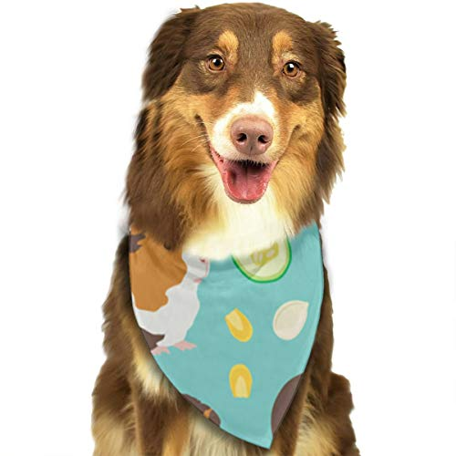 Pet Scarf Guinea Pig with Food Pattern Triangle Bibs Bandanas Kerchief Set Pets Costume Decoration for Small Medium Large Dogs Cats -
