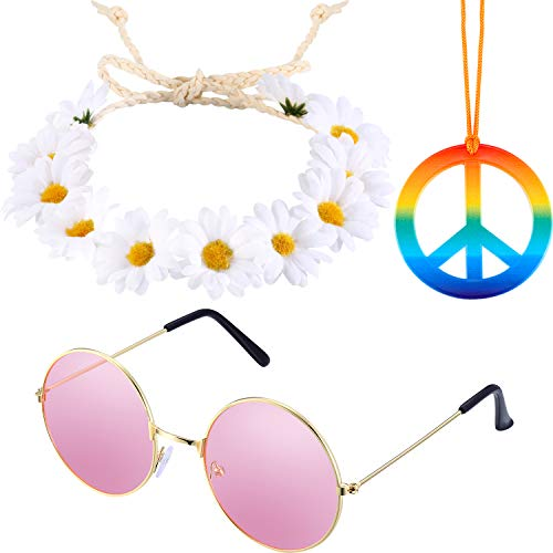 Tatuo 3 Pieces Hippie Costume Set Includes Rainbow Peace Sign Necklace, Flower Crown Headband and Hippie Sunglasses 60s 70s Dressing Accessory for Women Men]()