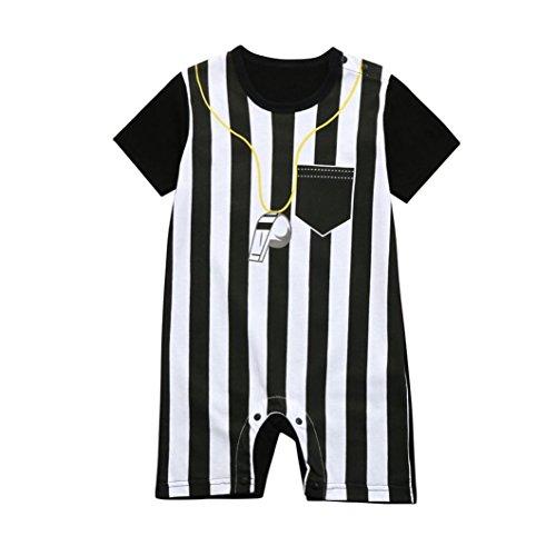 Vibola® Baby Romper, Baby Boys Striped Football Soccer Referee Romper (Black, Size:12M)