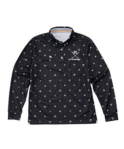子ボタンシェルアーノルドパーマー ゴルフウェア ポロシャツ 長袖 メンズ 飛び柄BD長袖シャツ AP220202H04 BK O