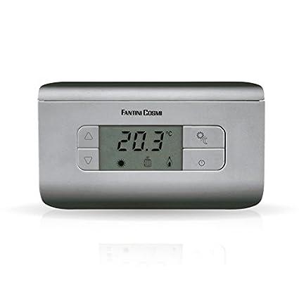 FANTINI COSMI CH116 Termostato ambiente a pilas, 3 temperaturas, Plata