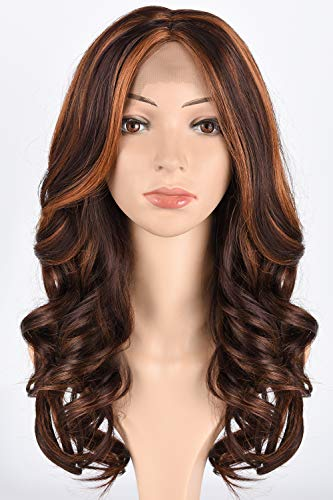 Tofafa Synthetic Lace Front Wigs 100% Heat Resistant Long Wave Wig for Women Brown with Highlights Color Auburn Brown(#4/30)]()