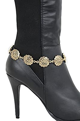 TFJ Women Western Fashion Jewelry Boot Bracelet Antique Gold Metal Chain Floral Band Shoe Flower Charm