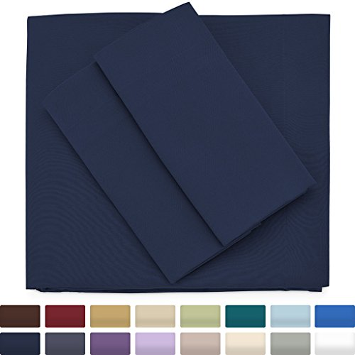 Premium Bamboo Bed Sheets - Queen Size, Navy Blue Sheet Set - Deep Pocket - Ultra Soft Cool Bedding - Hypoallergenic Blend From Natural Bamboo - 1 Fitted, 1 Flat, 2 Pillow Cases - 4 Piece - Luscious Silk