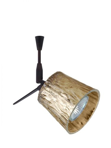 Besa Lighting SP-5145GF-BR 1X50W Mr16 Nico 3 Spotlight with Stone Gold Foil Glass, Bronze Finish