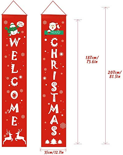 Trentixel Merry Christmas Banner,Christmas Porch Fireplace Wall Signs Flag for Christmas Decorations Outdoor Indoor,Christmas Banner Decoration