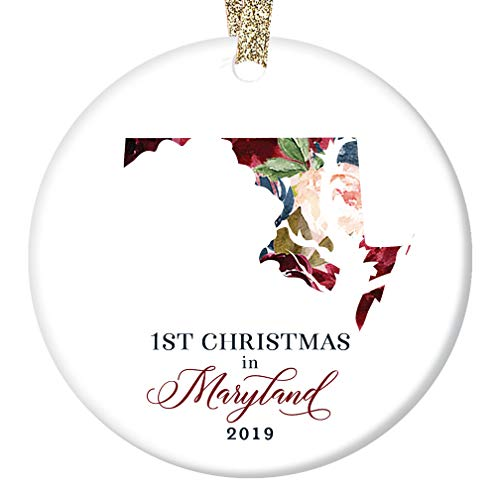 (Christmas 2019 Ornament Ceramic Collectible Tree Decoration First 1st Holiday Living in MARYLAND Keepsake for Coworker Family Friends Pretty Floral 3