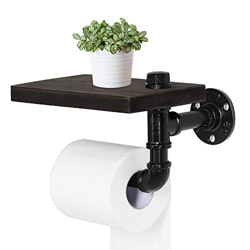 NEX Industrial Toilet Paper Holder, Wall Mounted Toilet Roll Tissue Holder Stand with Wooden Shelf for Bathroom, Espresso