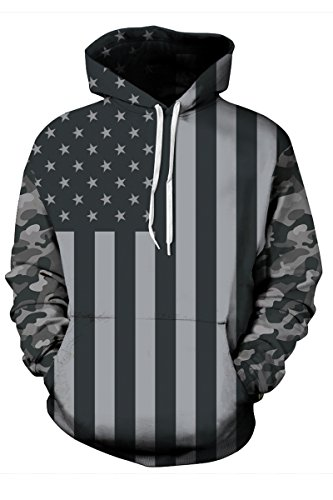 Haloon 3d Realistic Printed Big Pockets Drawstring Hoodie Sweatshirt The USA Flag M]()