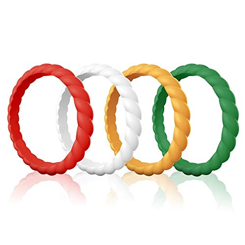 Egnaro Silicone Wedding Rings for Women, Thin and Stackble Rubber Wedding Bands,Size 4-9,Comfortable fit,No-Toxic,Skin Safe ()