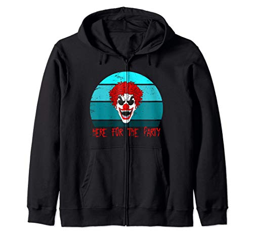 Creepy Horror Clown Sunset Silhouette Here for the Party Zip Hoodie]()