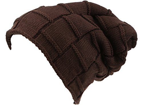 Sakkas 16145 - Volc Long Tall Pleated Faux Fur Shearling Lined Unisex Winter Hat Beanie - Brown - OS
