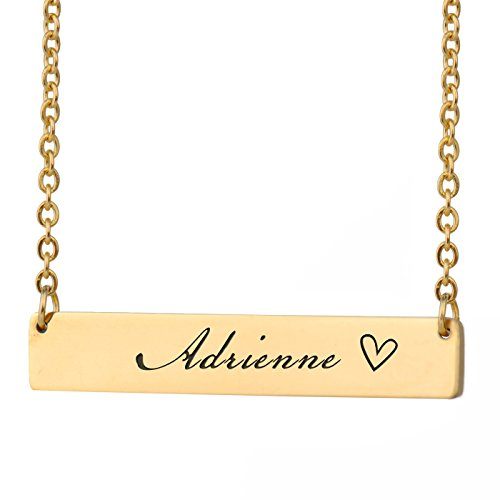 HUAN XUN Adrienne Name Mo Name Necklace Bar Initial Necklace Personal Jewelry Birthday Valentine Gift