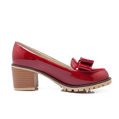 AllhqFashion Damen Rund Zehe Mittler Absatz Lackleder Rein Ziehen auf Pumps Schuhe Rot