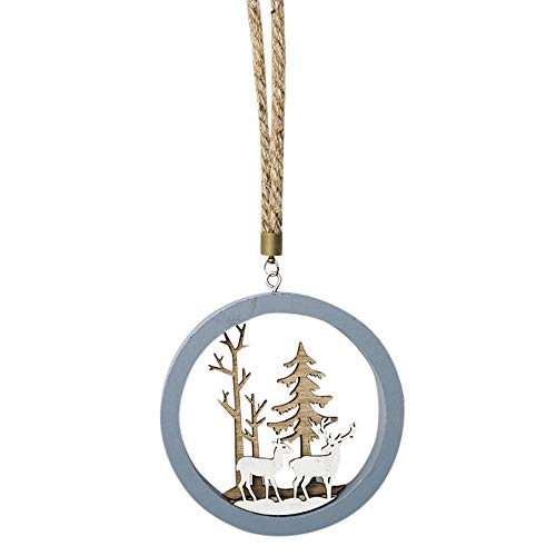 Chartsea Snowflake Wood Embellishments Rustic Christmas Tree Hanging Ornament Decorations (B)