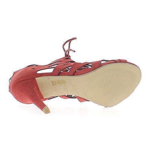 Rojo sandalias al final 10.5 cm cordones ante mirada talón