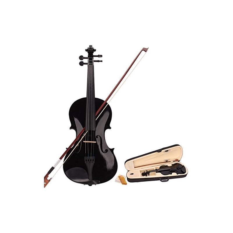 New 4/4 Black Acoustic Violin Case Bow R