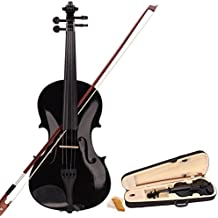Teekland 4/4 Full Size Black Acoustic Violin for Beginner with Fiddle Case/Bow/Rosin