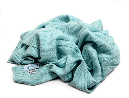 Pure Cashmere Cable Knit Baby Blanket (Seafoam Green)