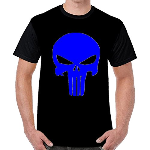 Aabigale Cool Blue Skull Mens Short Sleeve Cotton T Shirts (Pre Owned Vinyl)