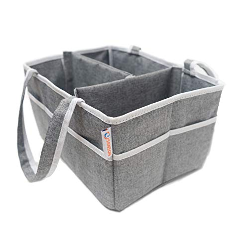 Sanson Premium Diaper Caddy with Changing Pad   Great Nursery Organizer for Home and Travel   Perfect Gift for Baby Showers!