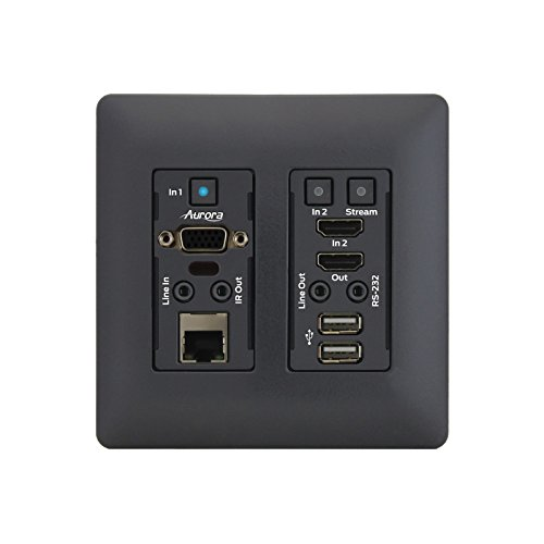 Aurora VLX-TCW2V-C | 1Gbps 4K IP Audio Video Wall Plate Black by Aurora