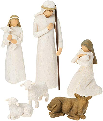 Willow Tree Hand-Painted Sculpted Figures, Nativity 6-Piece Set (Free Pearsons Reflection Journal Included) ()