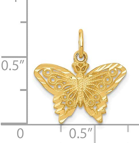 Mireval 14k Yellow Gold Dragonfly Pendant 10 x 19 mm
