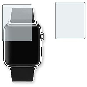 """2 x protectores pantalla Golebo para Apple Watch 38 mm (2016). Lámina protectora adhesiva invisible """"Crystal Clear"""". Fabricado en Alemania. (Intencionadamente es más pequeña que la pantalla ya que esta es curva)"""