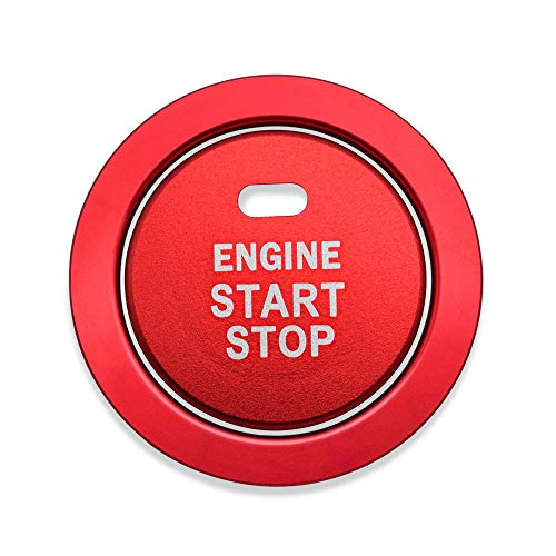 Ceyes Red Engine Start Stop Button Cover+Ring Ignition Start Stop Button Trim Ignition Switch Button Sticker Push Button Switch Decor Stickers for Subaru Forester Legacy Impreza Outback Ascent BRZ XV