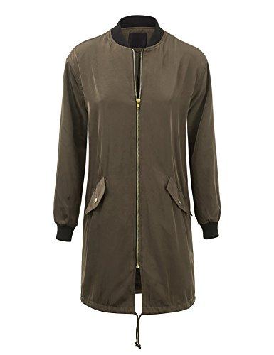 Lock and Love WJC1258 Womens Oversize Long Bomber Jacket S Olive (Women Long Bomber Jacket)