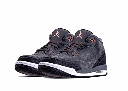 Nike Air Jordan 3 Retro (Gs) Size 6.5Y Girl Basic/Active Dark Grey/Mtlc Red Bronze-White Shoes