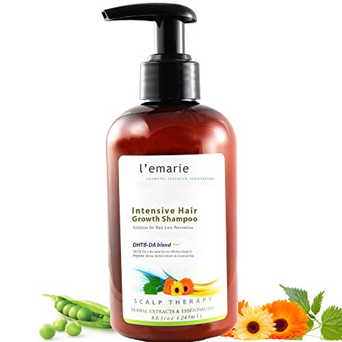 Lemarie Hair Growth Hair Loss + Anti Dandruff Shampoo With Biotin Caffeine Apple Cider Vinegar Tea Tree Oil | Thicker Fuller Longer Healthier Hair For Men and Women 8.6 oz