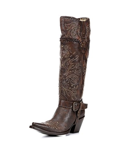 CORRAL Women's Vintage Studded Harness Cowgirl Boot Snip Toe Brown 8 M US (Boots Harness Studded Cowgirl)