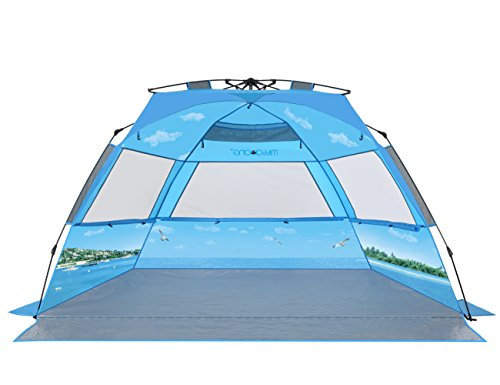 mittaGonG Pop Up Portable Beach Tent Sun Shelter Blue Sky and Ocean XL 95' L 53' W 51' H Comfortably fits 3-4 Person