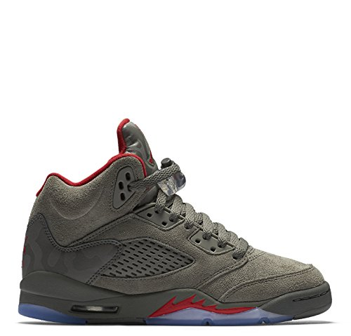 Jordan Retro 5'' Camo Dark Stucco/University Red (Big Kid) (5) by NIKE