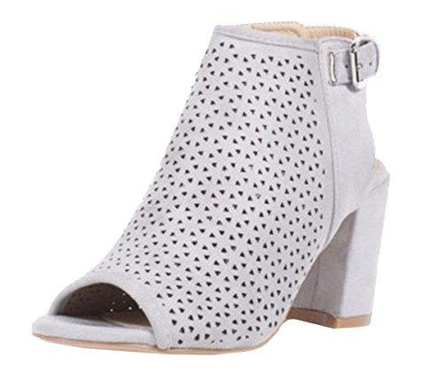 Womens Shoes Heel Buckle Ankle Grey High SHU Faux Block Slingback Ladies Cut Peeptoe Out Suede Sandals CRAZY L22 ZgWq5w4