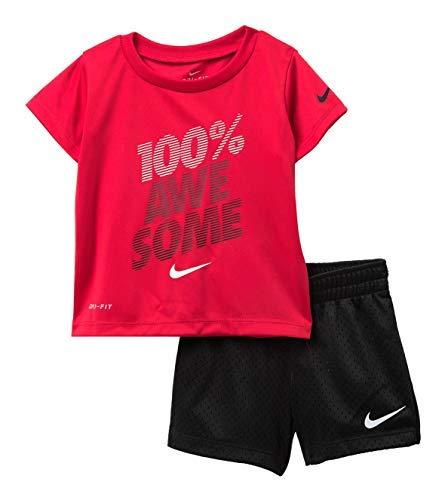 Nike Boy`s Dri-Fit T-Shirt & Shorts 2 Piece Set (Black(66D014-R1N)/Red, 12 Months)