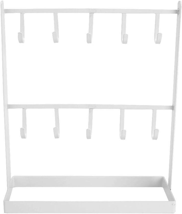HERCHR 2 Niveles Pendientes Organizador Colgante Collar joyer/ía exhibici/ón Soporte 10 Ganchos