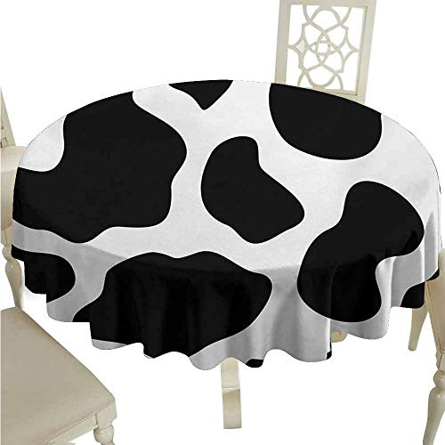 duommhome Cow Print Durable Tablecloth Hide of a Cow with Black Spots Abstract and Plain Style Barnyard Life Print Easy Care D35 Black White