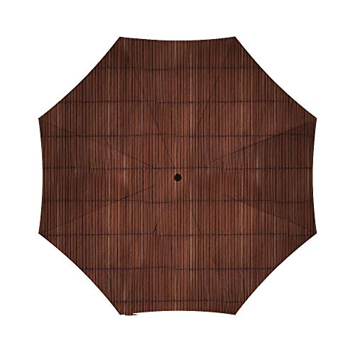 Vintage Brown Natural Wooden Bamboo Mat Background Texture With Vertical Planks - Polyester Umbrella, Automatic & Regular Versions